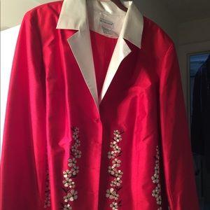 Red Victor Costa Designer Silk Blazer